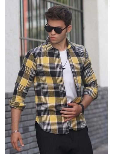 Madmext   Ekoseli Oduncu Erkek Gömlek 4684 Sarı